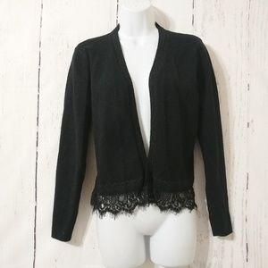 Cato Black Long Sleeve Lace Trim Open Cardigan